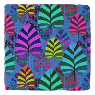 Bright and Colorful Leaf Pattern 767 Trivet