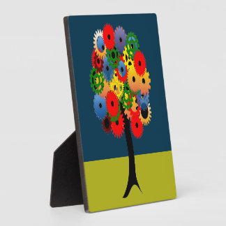 Bright and Colorful Mechanical Gear Tree Plaques