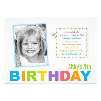 Bright and Colorful Photo Birthday Invitation Custom Invitation
