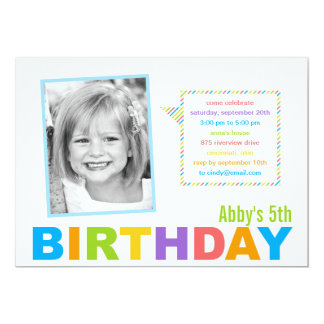 Bright and Colorful Photo Birthday Invitation