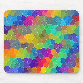 Bright and Colorful Polygon Mosaic Pattern Mouse Pad