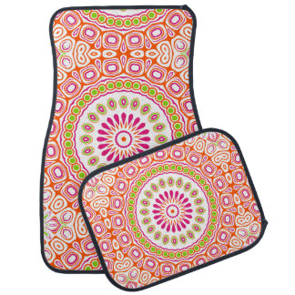 Bright and Colorful Spring Mandala Design Car Mat