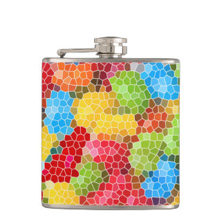 Bright and Colorful Unique Pattern Hip Flask