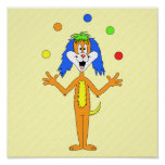 Bright and Colourful Cartoon Dog Juggling. Poster