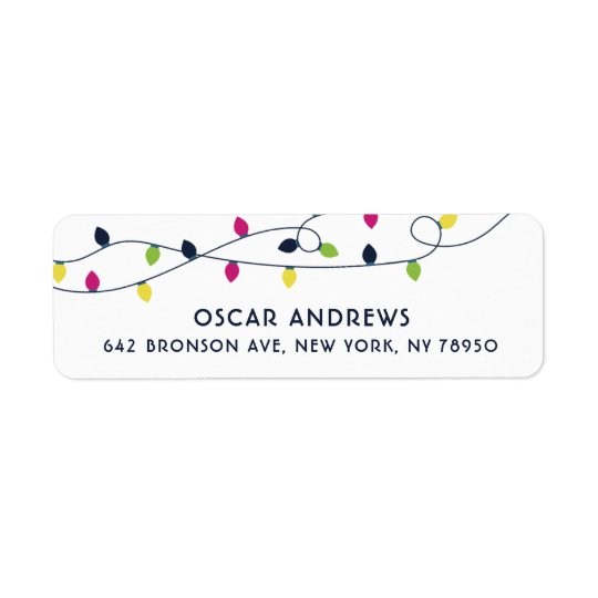 Bright and Colourful Christmas Lights Holiday II Return Address Label