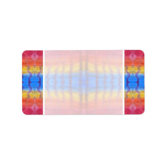 Bright and Colourful. Red, Blue and Yellow Address Label