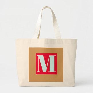 Bright and Elegant Alphabet Monogram Large Tote Bag