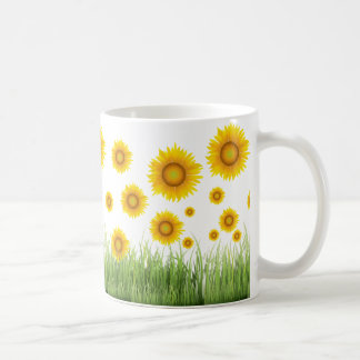 Bright and Elegant Sunflower Graphic Design Coffee Mug