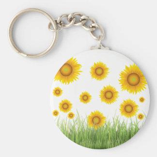 Bright and Elegant Sunflower Graphic Design Key Ring