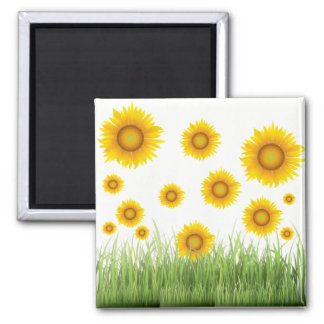 Bright and Elegant Sunflower Graphic Design Magnet