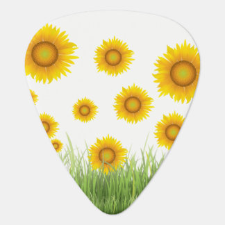 Bright and Elegant Sunflower Graphic Design Plectrum