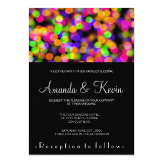 "Bright and Sparkling Lights Bokeh Background 5"" X 7"" Invitation Card"