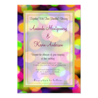 "Bright and Sparkling Lights Bokeh Pattern Wedding 5"" X 7"" Invitation Card"