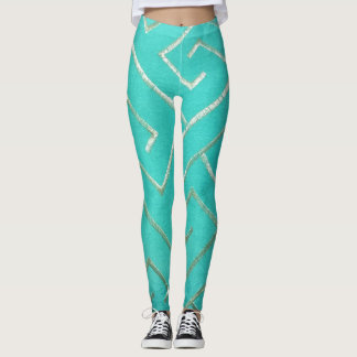 Bright Aqua and Silver Maze Leggings