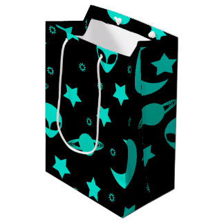 Bright Aqua Blue Alien Heads in Outer Space Medium Gift Bag