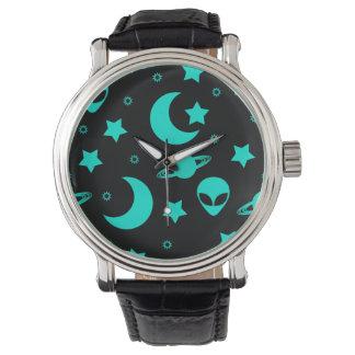 Bright Aqua Blue Alien Heads in Outer Space Watch