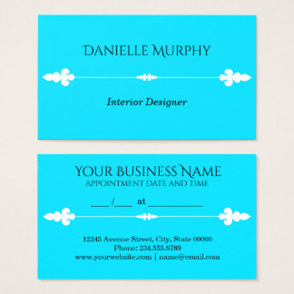 Bright Aqua Blue Design Appointment Card