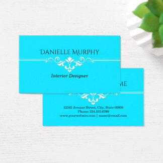 Bright Aqua Blue Designer Business Card