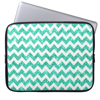 Bright Aqua Blue Faux Glitter White Chevron Girly Laptop Sleeve