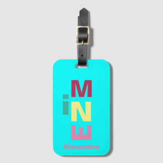 Bright Aqua Blue  multi-colored Boho Luggage Tag