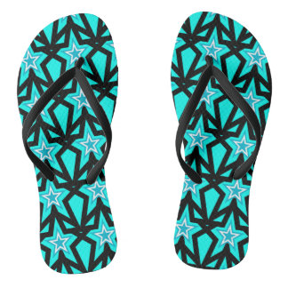 Bright Aqua Blue Star Pattern Flip Flops