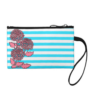 Bright Aqua Blue Striped Flower Purse