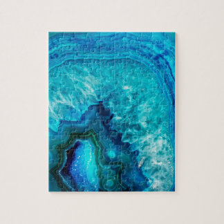 Bright Aqua Blue Turquoise Geode Mineral Stone Jigsaw Puzzle