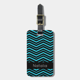 Bright Aqua Blue Zig Zag Striped Geometric Pattern Luggage Tag
