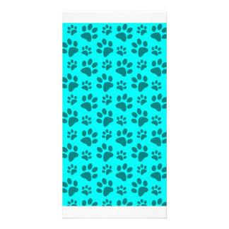 Bright aqua dog paw print pattern photo card