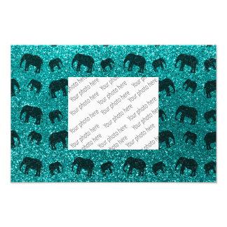 Bright aqua elephant glitter pattern photo art