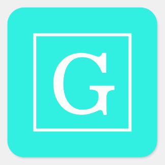 Bright Aqua Framed Initial Monogram Square Sticker