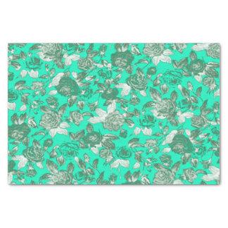 Bright Aqua Teal Floral Print Pattern Tissue Paper