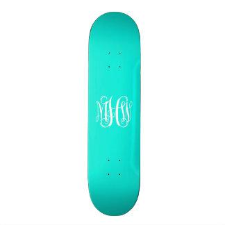 Bright Aqua White 3 Initials Vine Script Monogram Custom Skateboard