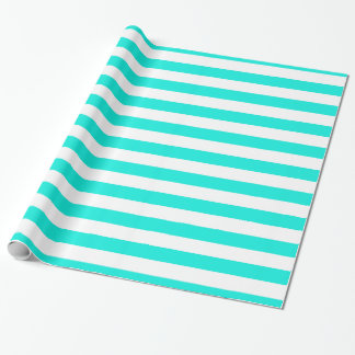 Bright Aqua White XL Stripes Pattern Wrapping Paper