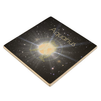 Bright Aquarius Wood Coaster