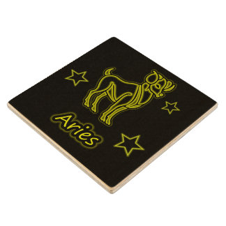 Bright Aries Wood Coaster