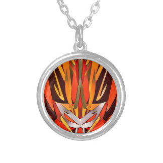 Bright Artistic Flaming Sword Abstract Silver Plated Necklace