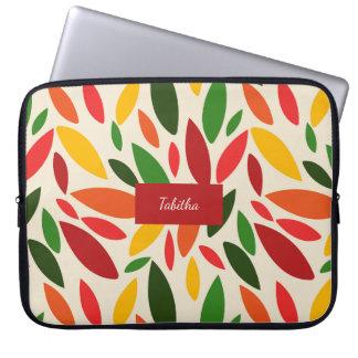 Bright Autum fall leaves monogram Laptop Computer Sleeves