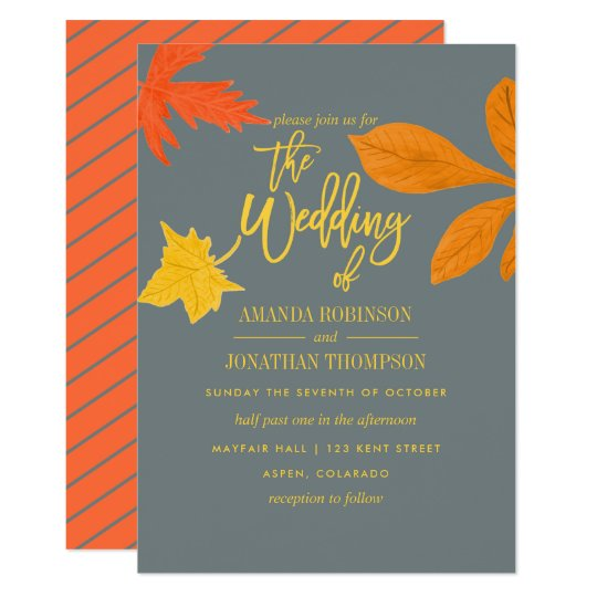 Bright autumn orange Fall Wedding invitation