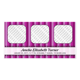 Bright Awnings Purple Birth Announcement Customised Photo Card