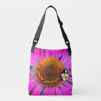 Bright Bee with Purple Flowers Crossbody Bag