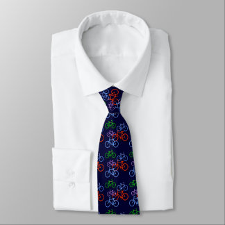 Bright Bicycles on Navy Blue Pattern Tie