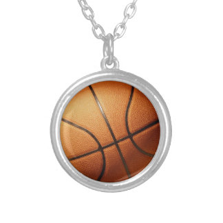 Bright_Big_Orange_Basketball,_ Silver Plated Necklace