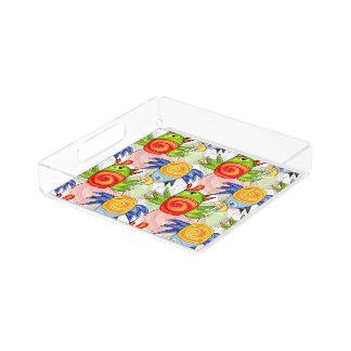 Bright bird doodle design acrylic tray
