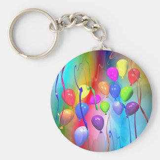 Bright Birthday Balloons Basic Round Button Key Ring