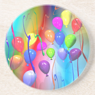 Bright Birthday Balloons Beverage Coaster