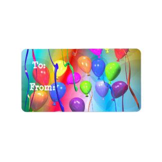 Bright Birthday Balloons Gift Tag Address Label