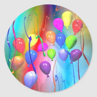 Bright Birthday Balloons Round Sticker