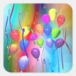 Bright Birthday Balloons Square Sticker