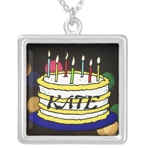 Bright Birthday Cake and Candles Personalized Necklace